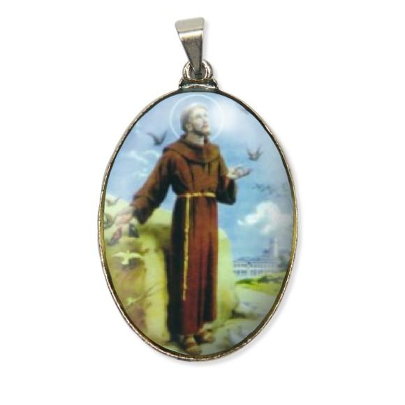 MD130400 - Medalha São Francisco de Assis Resinada Oval Níquel - 6x3,2cm