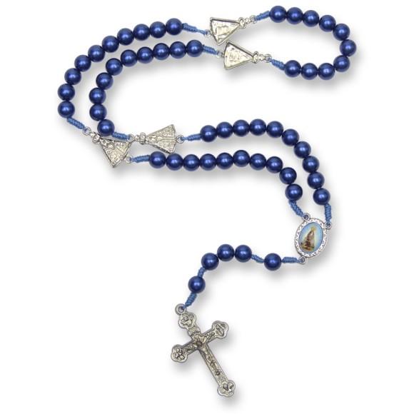 TE1071271 - Terço N. Sra. Aparecida Pérola Azul - 46cm