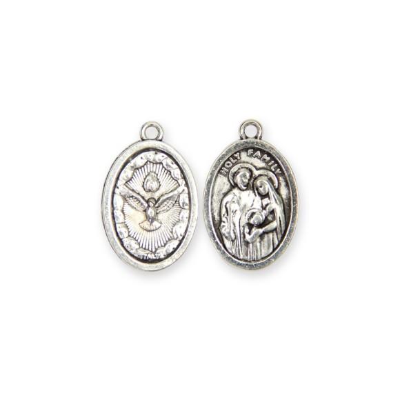 MD480060P2 - Medalha Sagrada Família e Divino Espírito Santo Oval Dupla c/ 2un. - 2,5x1,5cm