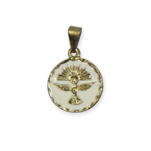 MD480070P5 - Medalha Divino Espírito Santo Resinada Branco c/ 5un. - 2x1,3cm