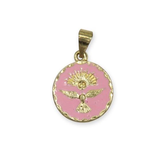 MD480072P5 - Medalha Divino Espírito Santo Dourada Resinada Rosa c/ 5un. - 2x1,3cm
