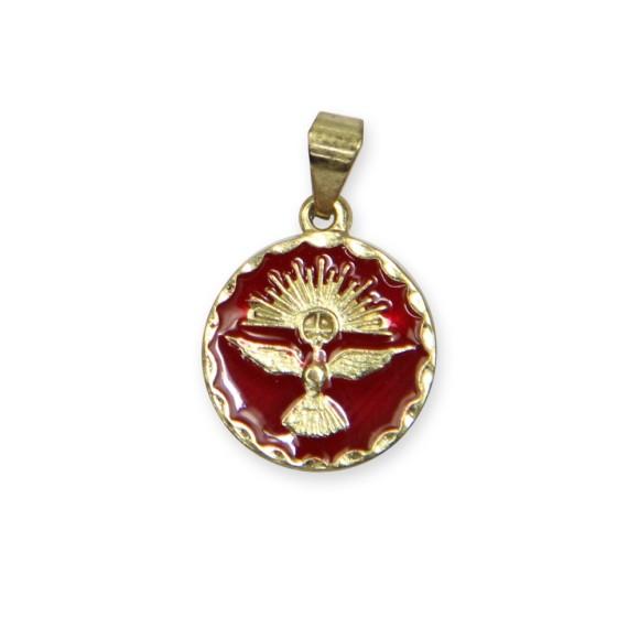 MD480073P5 - Medalha Divino Espírito Santo Dourada Resinada Vermelha c/ 5un. - 2x1,3cm