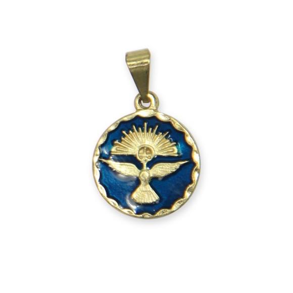 MD480074P5 - Medalha Divino Espírito Santo Dourada Resinada Azul c/ 5un. - 2x1,3cm
