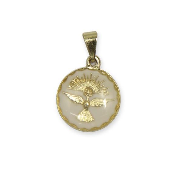 MD480080P5 - Medalha Divino Espírito Santo Dourada Resinada Branca c/ 5un. - 2x1,3cm