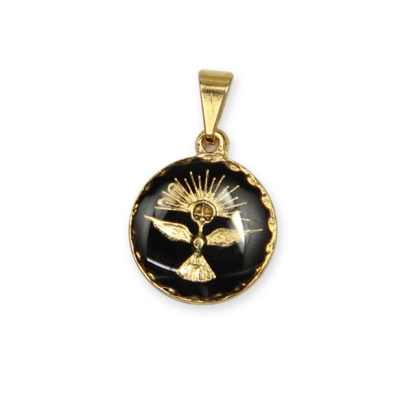 MD480081P5 - Medalha Divino Espírito Santo Dourada Resinada Preta c/ 5un. - 2x1,3cm