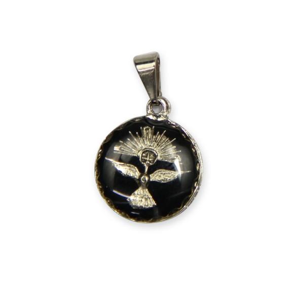 MD480091P5 - Medalha Divino Espírito Santo Níquel Resinada Preta c/ 5un. - 2x1,3cm