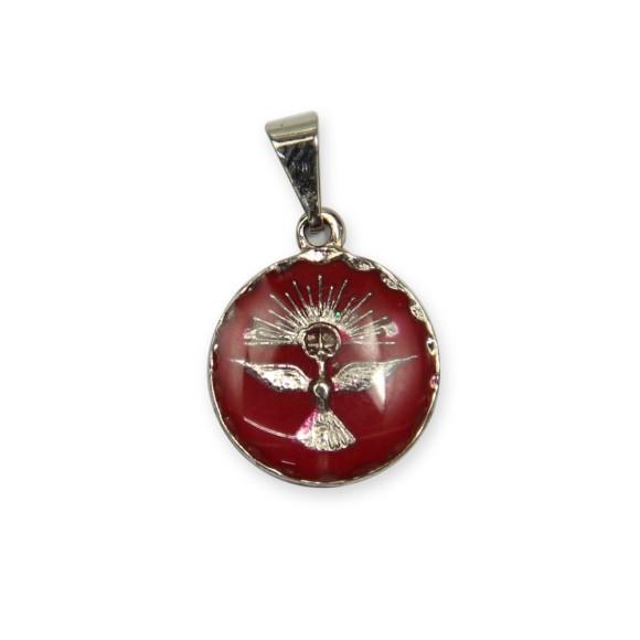 MD480092P5 - Medalha Divino Espírito Santo Níquel Resinada Vermelha c/ 5un. - 2x1,3cm