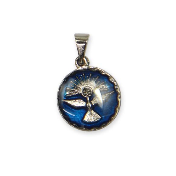 MD480093P5 - Medalha Divino Espírito Santo Níquel Resinada Azul c/ 5un. - 2x1,3cm