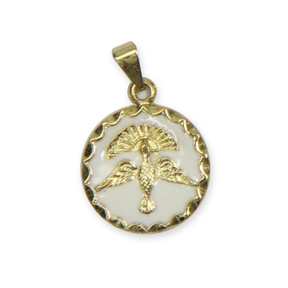 MD480100P2 - Medalha Divino Espírito Santo Dourada Resinada Branca c/ 3un. - 2,5x1,8cm