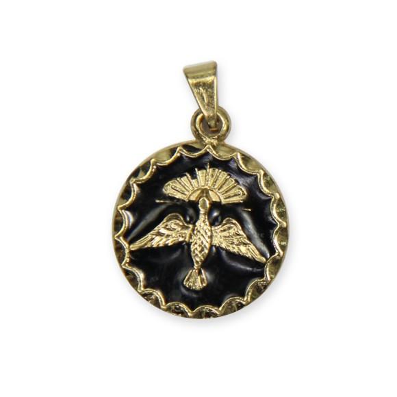 MD480101P2 - Medalha Divino Espírito Santo Dourada Resinada Preta c/ 3un. - 2,5x1,8cm