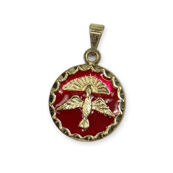 MD480103P2 - Medalha Divino Espírito Santo Dourada Resinada Vermelha c/ 3un. - 2,5x1,8cm