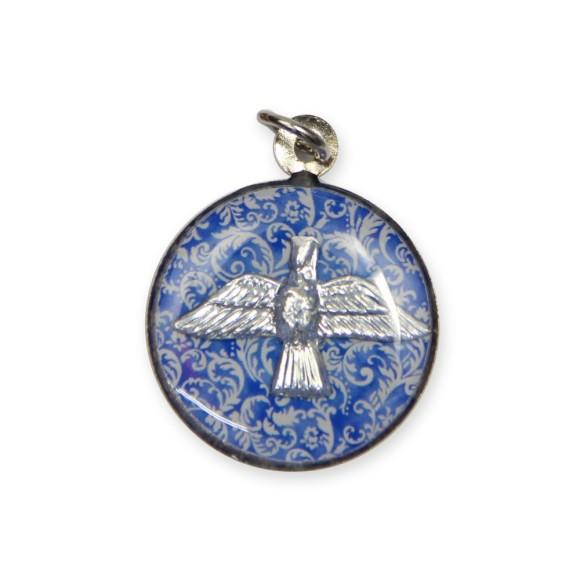 MD480112P3 - Medalha Divino Espírito Santo Níquel Resinada c/ 3un. - 2,5x2cm