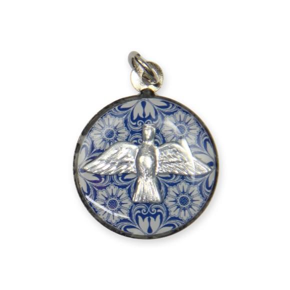 MD480112P3 - Medalha Divino Espírito Santo Resinado Níquel - 2,5x2cm