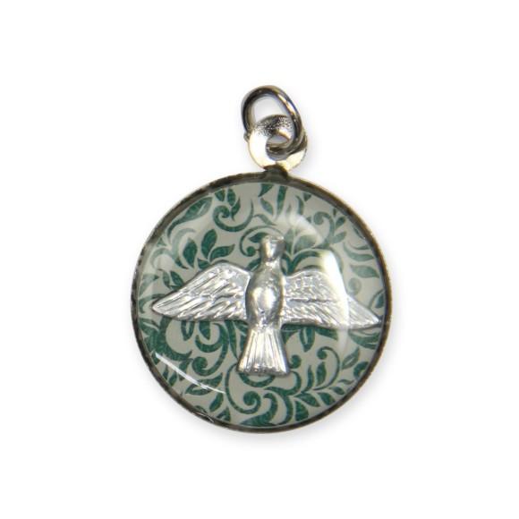 MD480118P3 - Medalha Divino Espírito Santo Níquel Resinada c/ 3un. - 2,5x2cm