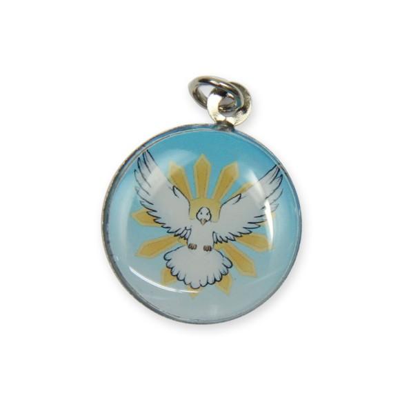 MD480141P3 - Medalha Divino Espírito Santo Níquel Resinada c/ 3un. - 2,5x2cm