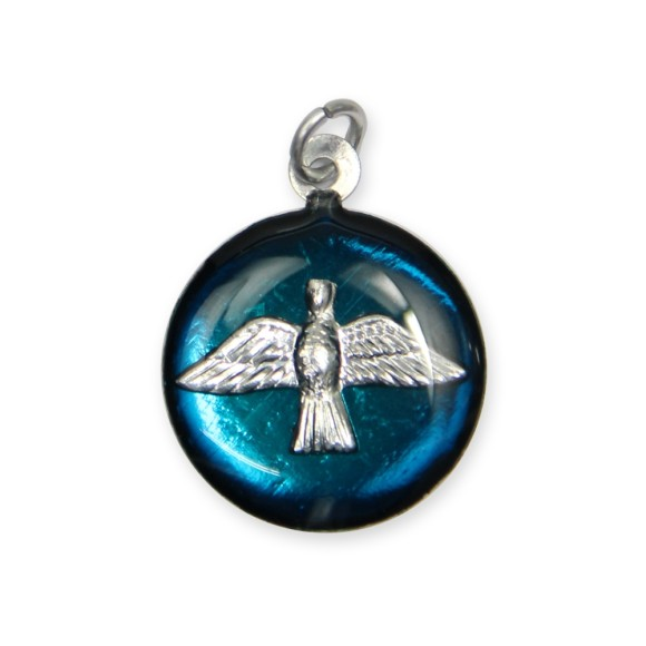 MD480135P3 - Medalha Divino Espírito Santo Níquel Resinada Azul Turquesa c/ 3un. - 2,5x2cm