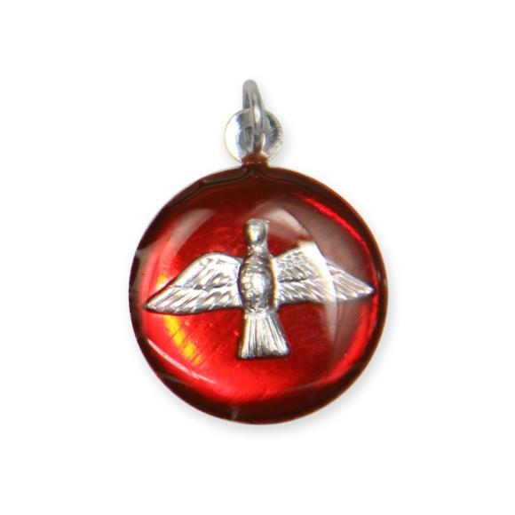 MD480136P3 -  Medalha Divino Espírito Santo Níquel Resinada Vermelha c/ 3un. - 2,5x2cm