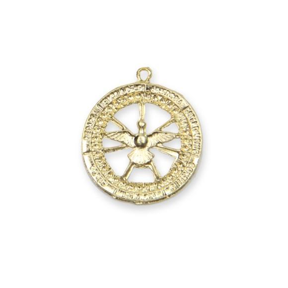 MD480158 - Medalha Divino Espírito Santo Dourada - 3,5x3,2cm