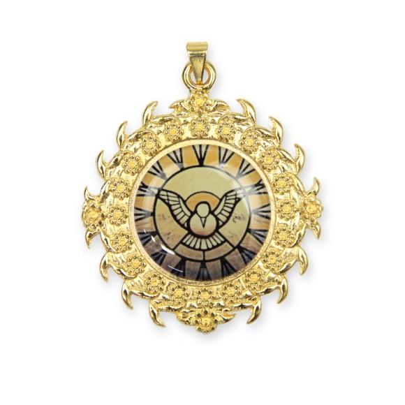 MD480185 - Medalha Divino Espírito Santo Dourada - 5x6cm