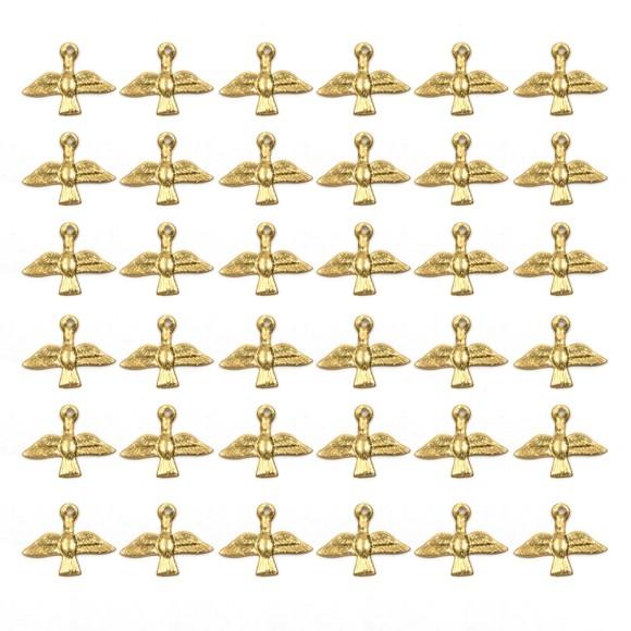 PG480035P100 - Pingente Divino Espírito Santo Alumínio Dourado c/ 100un. - 1,5x1,7cm