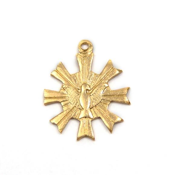 PG480013P20 - Pingente Divino Espírito Santo Alumínio Dourado c/ 20un. - 1,8x2cm