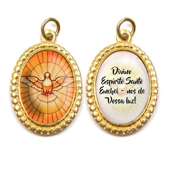 MD480032P3 - Medalha Divino Espírito Santo Alumínio Dupla Oval c/ 3un. - 3x2cm