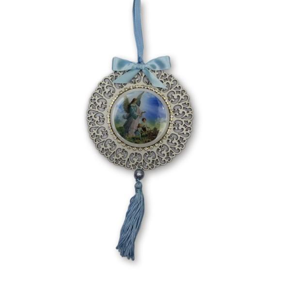 ME800010 - Medalhão de Berço Anjo da Guarda Azul c/ Strass- 23x1,5cm