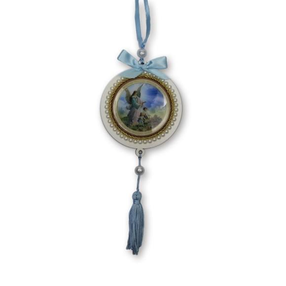 ME800030 - Medalhão de Berço Anjo da Guarda Azul c/ Pérola - 34x10cm