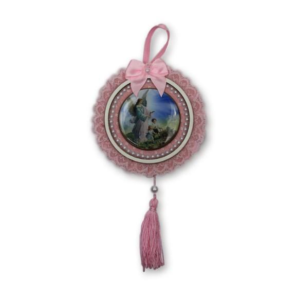 ME800051 - Medalhão de Berço Anjo da Guarda Rosa c/ Renda - 28x13cm