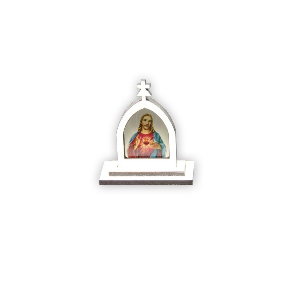 CP81056 - Capela Sagrado Coração de Jesus MDF Branca - 6x5,5cm