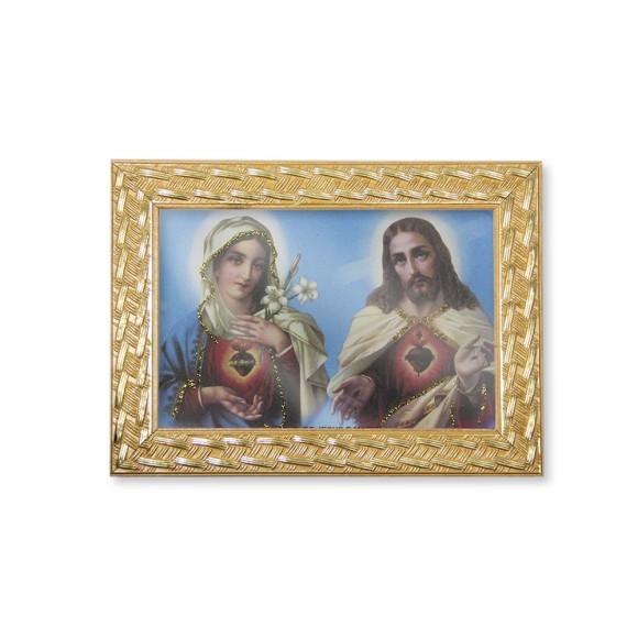 QD91221 - Quadro Moldura Sagrado Coração de Jesus e Maria - 13x18cm
