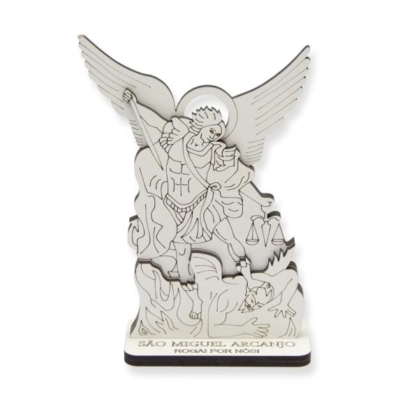 AO290781 - Pedestal São Miguel Arcanjo MDF Branco - 13,5x9cm
