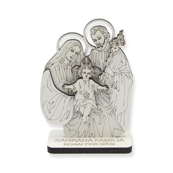AO290550 - Pedestal Sagrada Família MDF Branco - 12x8,5cm