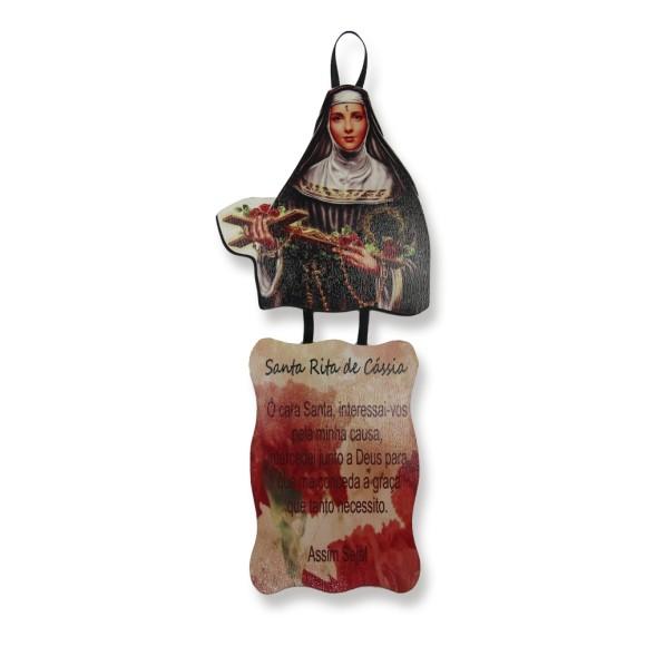 MO1410009 - Móbile Santa Rita de Cássia c/ Oração - 20,5x9cm