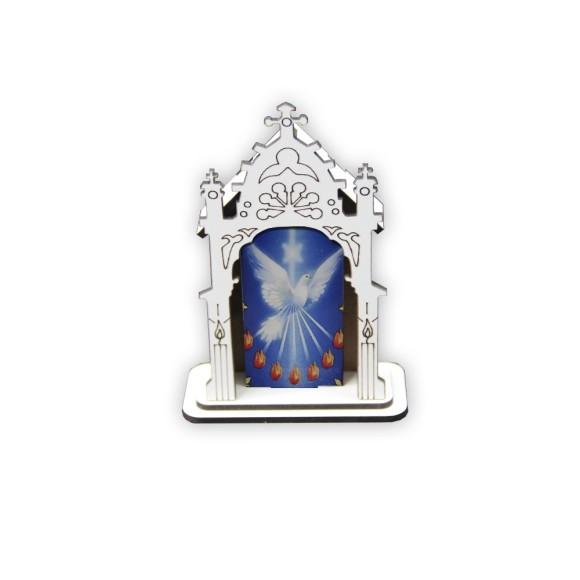 OT810201 - Oratório Divino Espírito Santo MDF Branco - 12x8cm