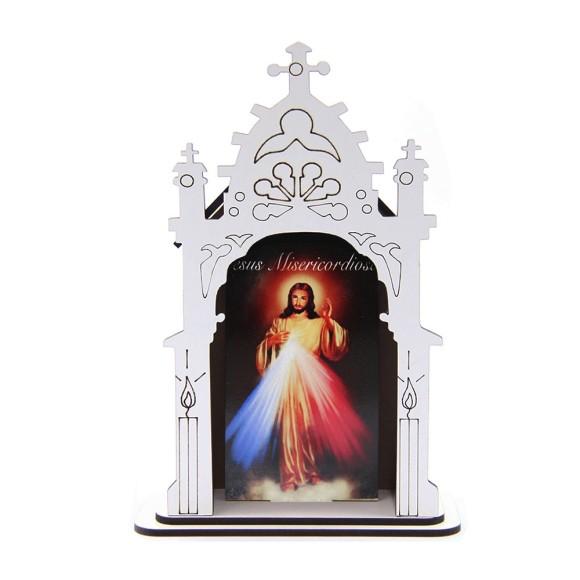 OT811100 - Oratório Jesus Misericordioso MDF Branco - 17x11,7cm