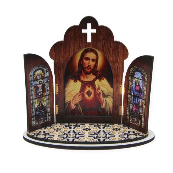 OT814100 - Oratório Sagrado Coração de Jesus  MDF - 11x13cm