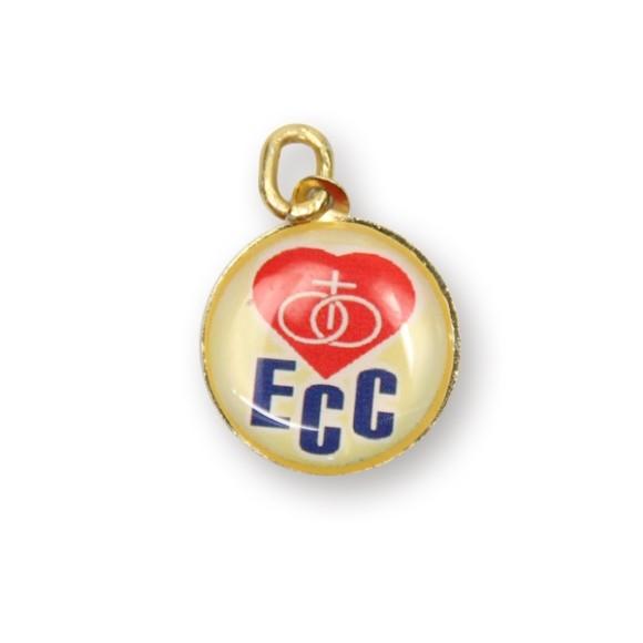 MD49001 - Medalha ECC Dupla de Alumínio Dourada  - 2,5x2cm