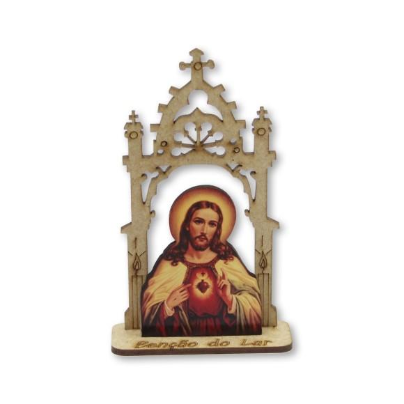 CP81452 - Capela Sagrado Coração de Jesus MDF - 12,5x7,5cm