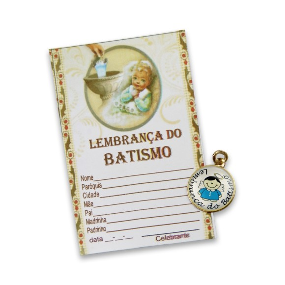 CT1460 - Cartão Lembrança Batismo c/ Medalha Menino - 9x5,5cm