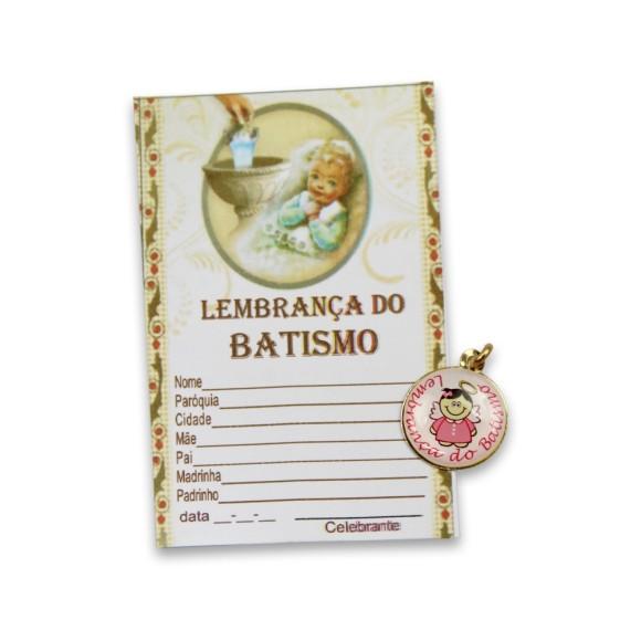 CT1461 - Cartão Lembrança Batismo c/ Medalha Menina - 9x5,5cm