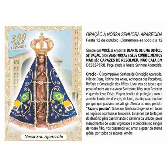 OG14003P100 - Oração N. Sra. Aparecida c/ 100un. - 9,5x6,5cm