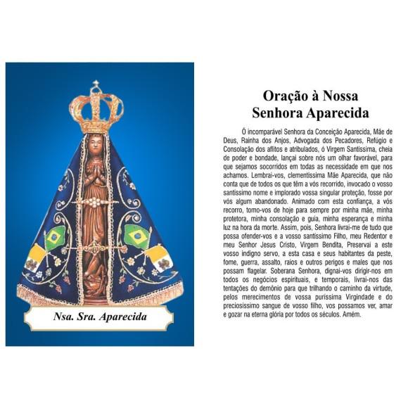 OG14005P100 - Oração N. Sra. Aparecida c/ 100un. - 9,5x6,5cm