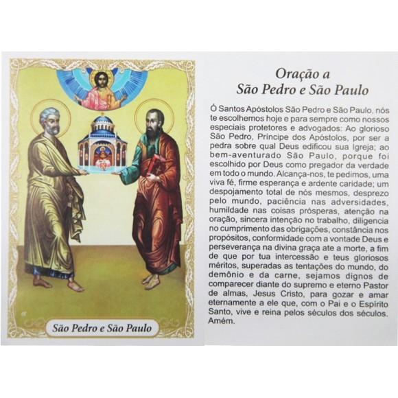 OG141481P100 - Oração São Pedro e São Paulo c/ 100un. - 9,5x6,5cm