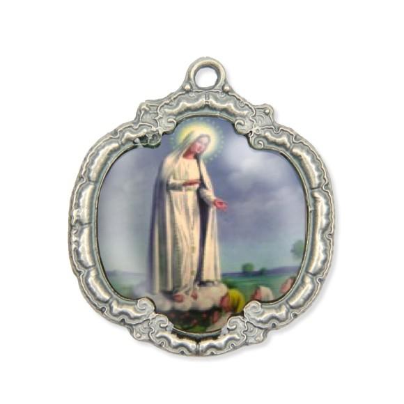 MD1320009 - Medalha N. Sra. De Fátima Resinada Níquel Envelhecido - 5,5x4,8cm