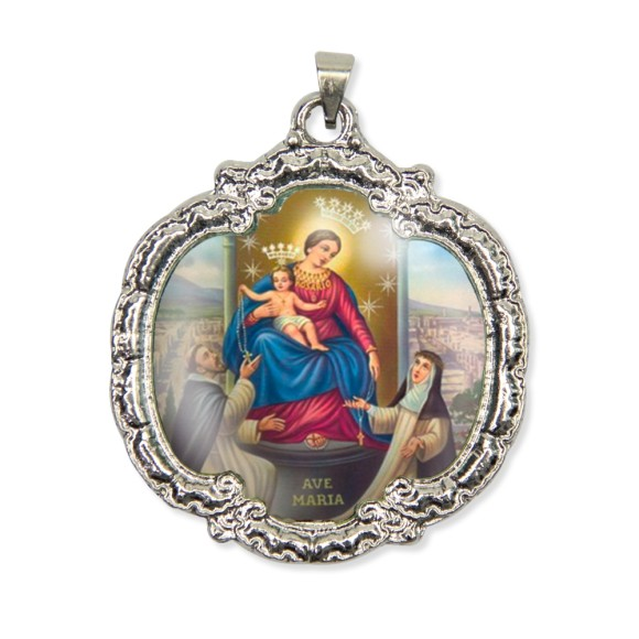 MD1320016 - Medalha N. Sra. Do Rosário Resinada Níquel - 5,5x4,8cm