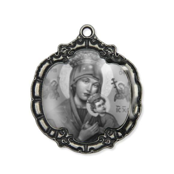 MD1320035 - Medalha N. Sra. Do Perpétuo Socorro  Resinada Níquel Envelhecido - 5,5x4,8cm