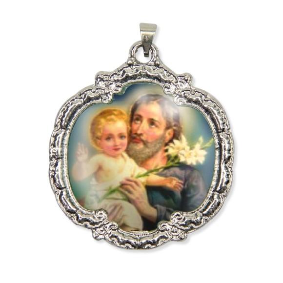 MD1320404 - Medalha São José Resinada Níquel Envelhecido - 5,5x4,8cm