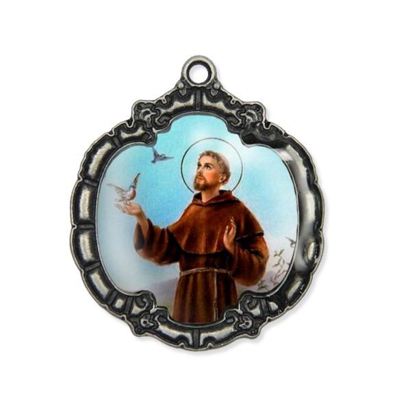 MD1320422 - Medalha São Francisco de Assis Resinada Níquel Envelhecido - 5,5x4,8cm