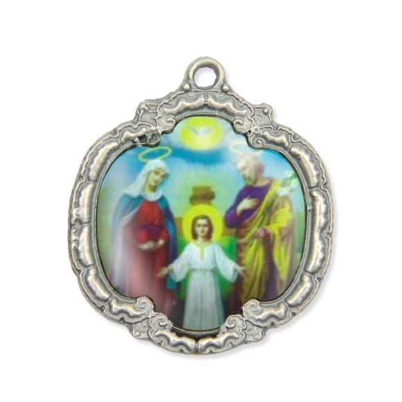 MD1320801 - Medalha Sagrada Família Resinada Níquel Envelhecido - 5,5x4,8cm